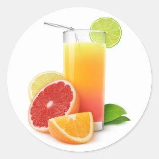 Mixed citrus fruits juice round sticker