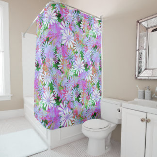 Mixed Color Digital Daisies Shower Curtain