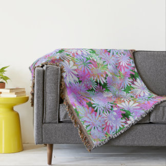 Mixed Color Digital Daisies Throw Blanket