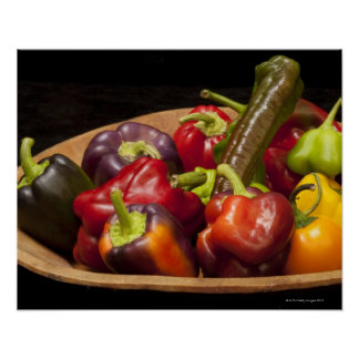 Mixed colors and types of peppers poster