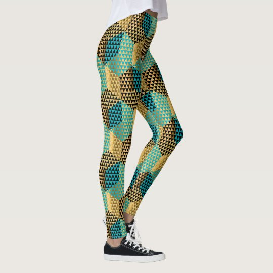 Mixed Colours Modern Geometric Shapes Design Leggings