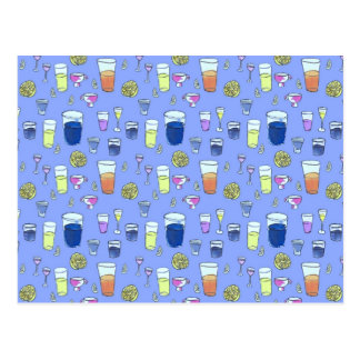 Mixed Drinks on Blue Postcard