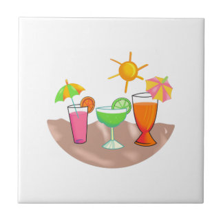 MIXED DRINKS ON THE BEACH TILE