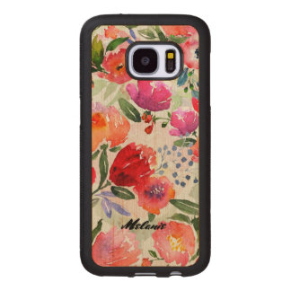 Mixed Flowers Collage Monogram. Wood Samsung Galaxy S7 Case