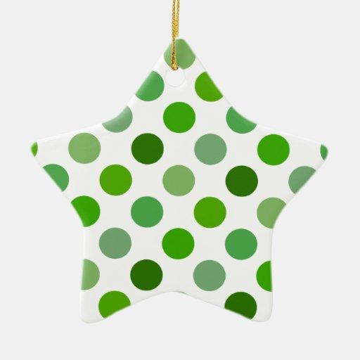 Mixed Greens Polka Dots Christmas Tree Ornaments