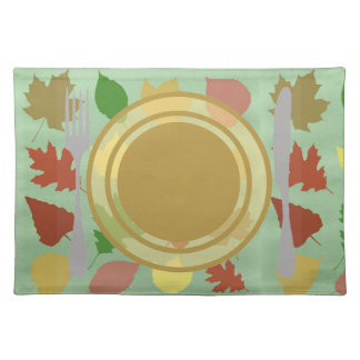 Mixed Leaves and Plate Drawing Placemat