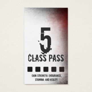 Mixed Martial Art Business Card 5 Class Pass Card