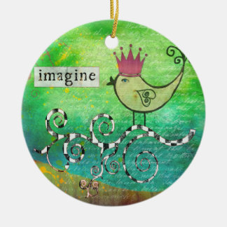 Mixed Media Altered Art Collage Imagine Ornament