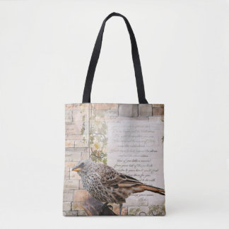 Mixed Media Art Style Bird Tote Bag
