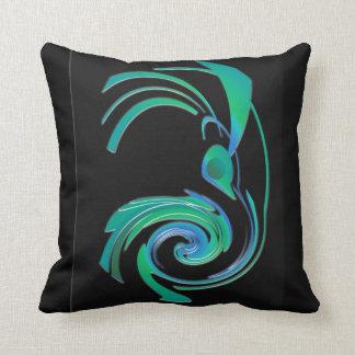 Mixed Media Black Blue Green Bird American MoJo Pi Throw Pillows