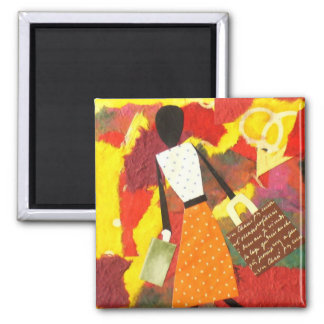 Mixed Media Colorful Art Magnet