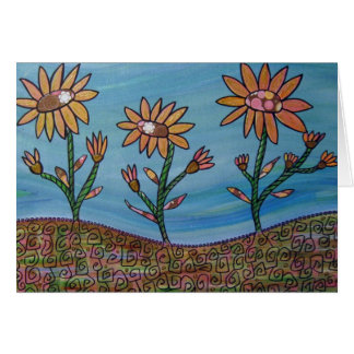 Mixed Media Flower Field Greeting Card