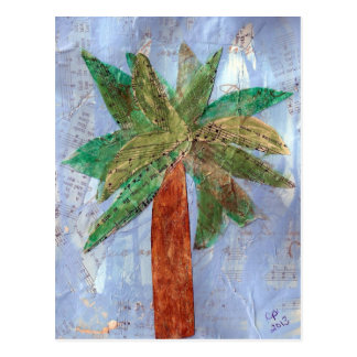 Mixed Media Palm Tree Postcard