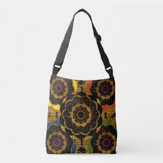 Mixed Media Retro Style Hippie Pattern Crossbody Bag