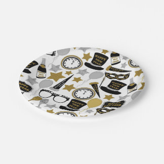 Mixed New Years Eve pattern party plate