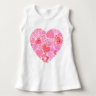 Mixed Pink Colored Heart, Baby Sleeveless Dress