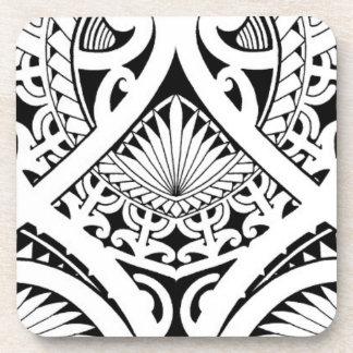 mixed polynesian maori tribal tattoo coconut leaf coaster