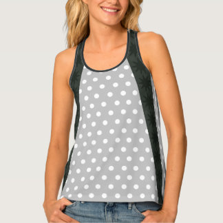 Mixed Print Monochrome Dotted Racerback Singlet