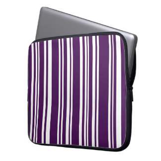 Mixed Purple and White Stripes Laptop Sleeve