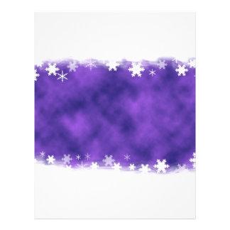MIXED PURPLE SWIRLS WHITE SNOWFLAKES SATIN WINTER 21.5 CM X 28 CM FLYER