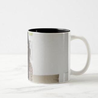 Mixed race teenage girl doing homework on bed Two-Tone mug