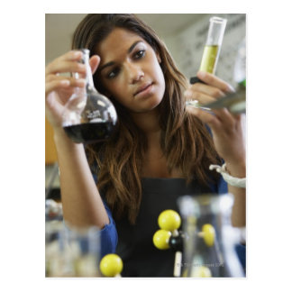 Mixed Race teenaged girl in science class Postcard