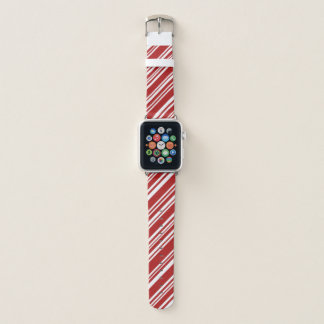 Mixed Red and White Diagonal Peppermint Stripes Apple Watch Band