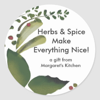 Mixed savory herbs gift tag stickers, Herbs & S... Round Sticker