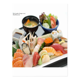 Mixed Sushi Plate & Japanese Soup Art Gifts & Tees Postcard