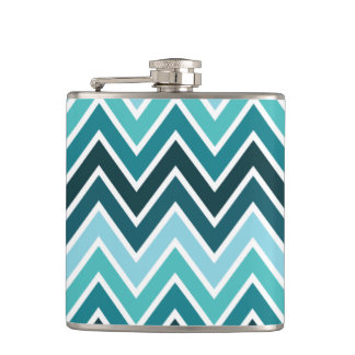 Mixed Teal Chevron Stripe Vinyl Flask