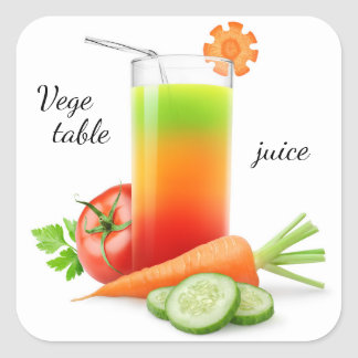 Mixed vegetables juice square sticker