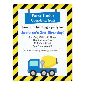 Mixer Truck Construction Theme kids Birthday Party Personalized Announcements