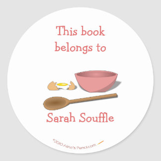 Mixing Bowl Custom Cookbook Bookplate Template Classic Round Sticker
