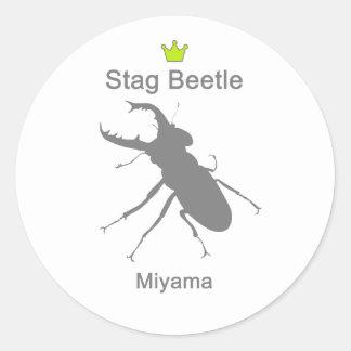 Miyama Stag Beetle g5 Round Sticker