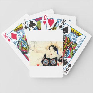 Mizuno Toshikata 水野年方, Courtesan - Asian Art Bicycle Playing Cards