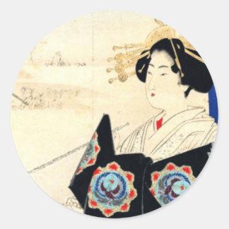 Mizuno Toshikata 水野年方, Courtesan - Asian Art Classic Round Sticker