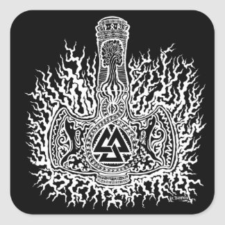 Mjolnir - Valknut Sticker