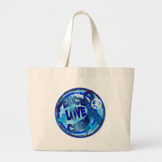mld  AWARENESS PEACE LOVE CURE Large Tote Bag
