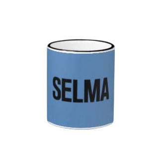 MLK Day-Selma Black on Blue Mugs