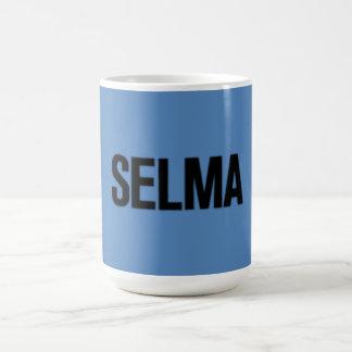 MLK Day-Selma Black on Blue Coffee Mug