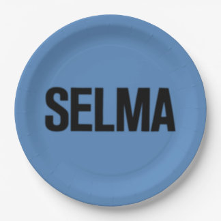 MLK Day-Selma Black on Blue 9 Inch Paper Plate