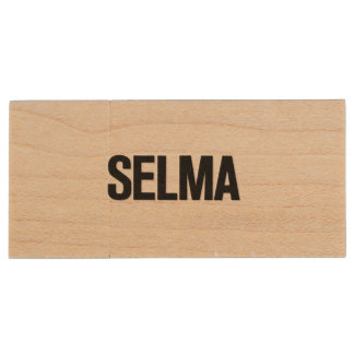 MLK Day- Selma Black on White Wood USB 2.0 Flash Drive