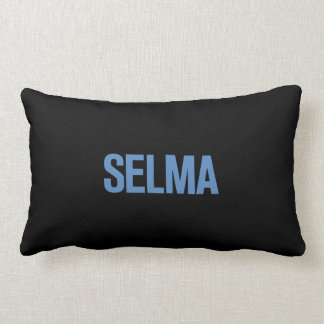 MLK Day-Selma Blue on Black Throw Pillow