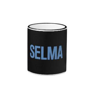 MLK Day-Selma Blue on Black Coffee Mugs