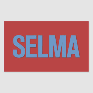 MLK Day-Selma Blue on Red Rectangle Stickers