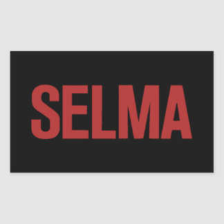 MLK Day-Selma-Red on Black Rectangular Sticker