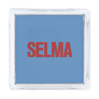 MLK Day-Selma Red on Blue Silver Finish Lapel Pin