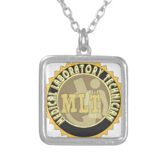 MLT BADGE MEDICAL LABORATORY TECHNICIAN SILVER PLATED NECKLACE