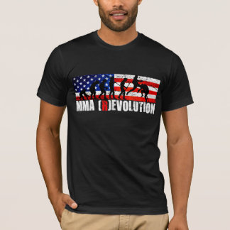 MMA Evolution Chart (Flying Knee) American Flag T- T-Shirt