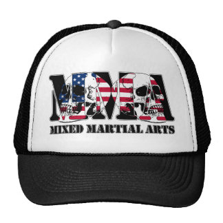 MMA Mixed Martial Arts Japan Flag & Skulls Trucker Hat
